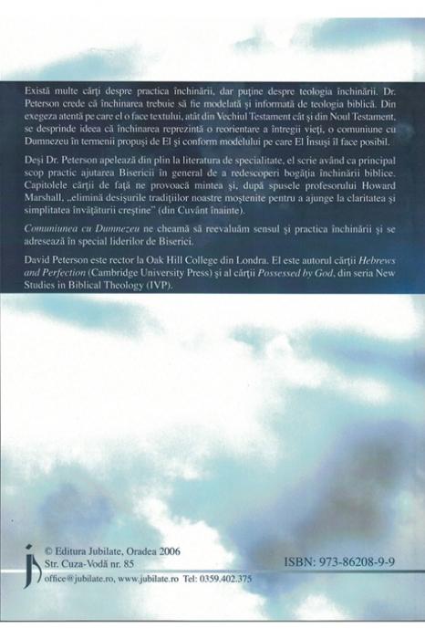 Comuniunea cu Dumnezeu. O teologie biblica a inchinarii 1