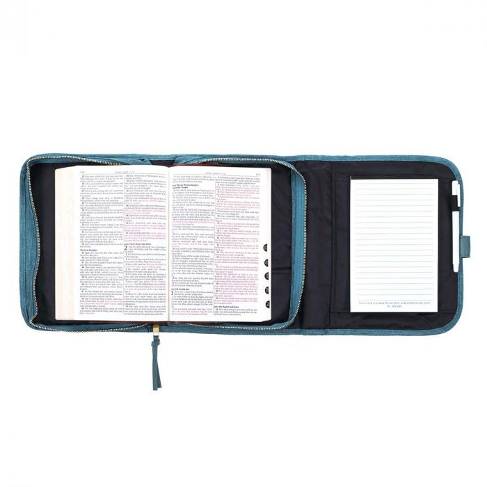 Faith Teal Tri-fold Organizer Bible Cover [3]