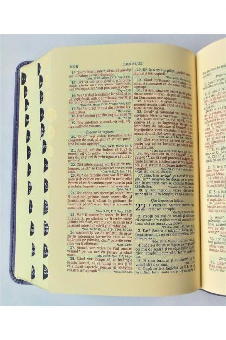 Biblie mica de lux, nuante de roz, margini argintate si index de cautare 3