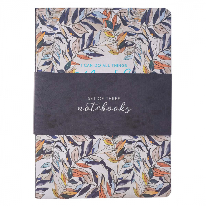 Through Christ Navy Floral Large Notebook [0]