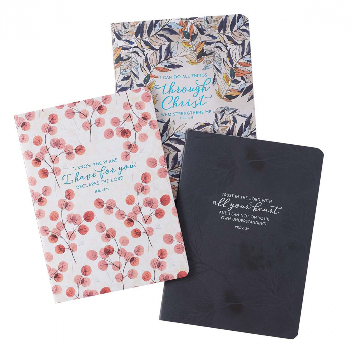 Through Christ Navy Floral Large Notebook [2]