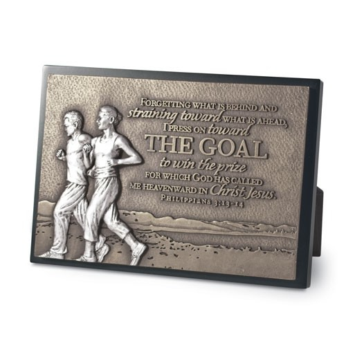 Placa mica in relief - The Goal, Couple running [0]