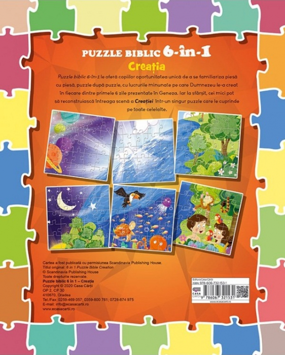 Puzzle biblic 6 în 1 - Creatia 1
