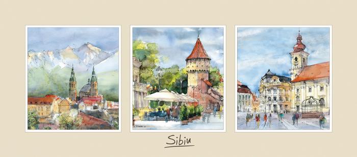 Tablou triptic Sibiu