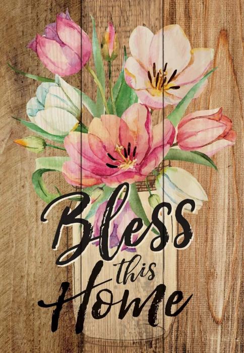 Tablou lemn (limba engleza) - Bless This Home Floral 0