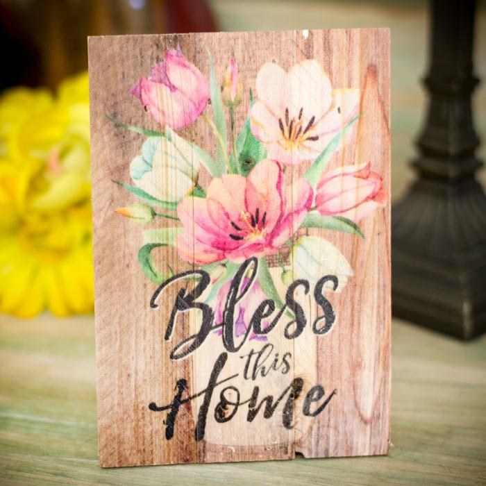 Tablou lemn (limba engleza) - Bless This Home Floral 1