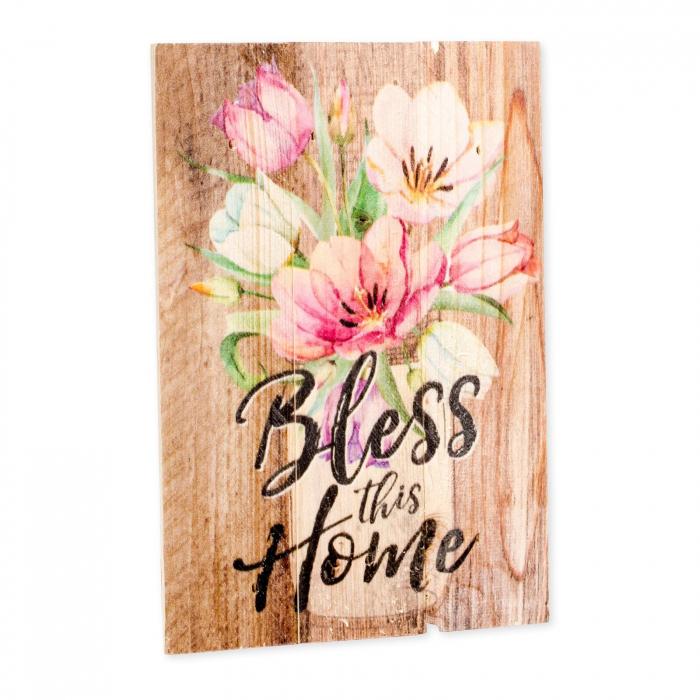 Tablou lemn (limba engleza) - Bless This Home Floral 2