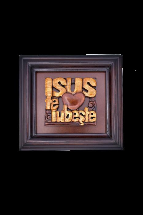 Tablou din lemn - Isus te iubește - FS-51R 0