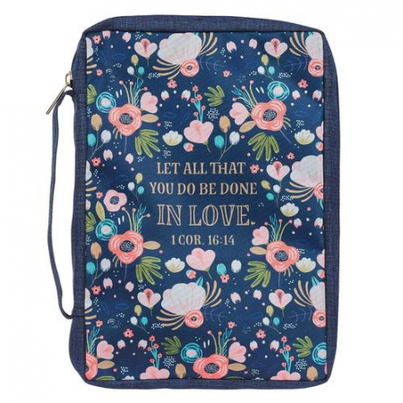 Done in Love Navy Floral 1 Cor 16:14 [0]