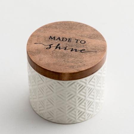 Caseta ceramica cu capac din lemn - Made to Shine0