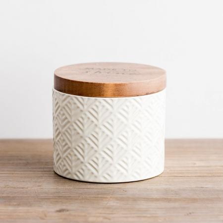 Caseta ceramica cu capac din lemn - Made to Shine1