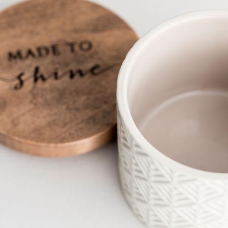 Caseta ceramica cu capac din lemn - Made to Shine4
