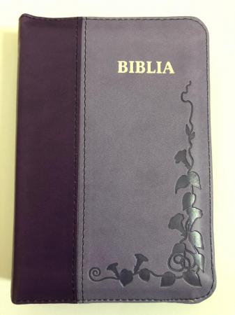 Biblie mica de lux, nuante de mov, margini argintate, fermoar si index de cautare0