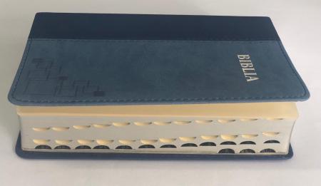 Biblie mica de lux, nuante de albastru, margini argintate si index de cautare1