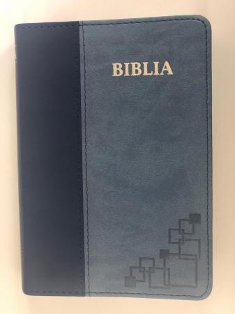 Biblie mica de lux, nuante de albastru, margini argintate si index de cautare0