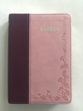Biblie mica de lux, nuante de roz, margini argintate si index de cautare0