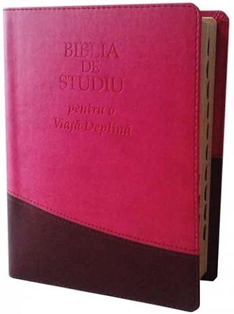 Biblia de studiu pentru o viata deplina (editie deLuxe, piele ecologica, roz & maro)0