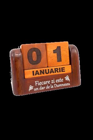 Calendar din lemn pentru birou - Fiecare zi este un dar de la Dumnezeu - GDC02-602R0