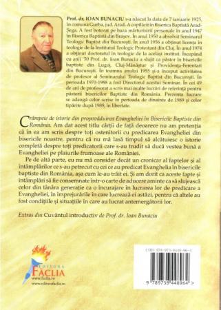 Crampeie de istorie din propovaduirea Evangheliei in Bisericile Baptiste din Romania 1874-19841