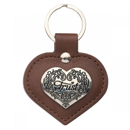 Heart-shaped TRUST Faux Leather Keyring [0]