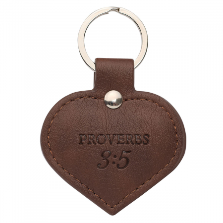 Heart-shaped TRUST Faux Leather Keyring [1]