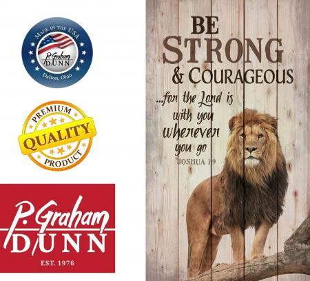 Tablou lemn (limba engleza) - Be Strong and Courageous Lion Design1