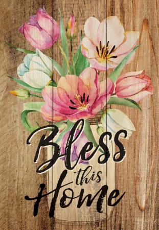 Tablou lemn (limba engleza) - Bless This Home Floral0