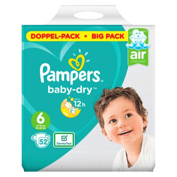 Scutece copii PAMPERS Baby Dry nr 6 junior+, 13-18 kg, 52 bucati [0]