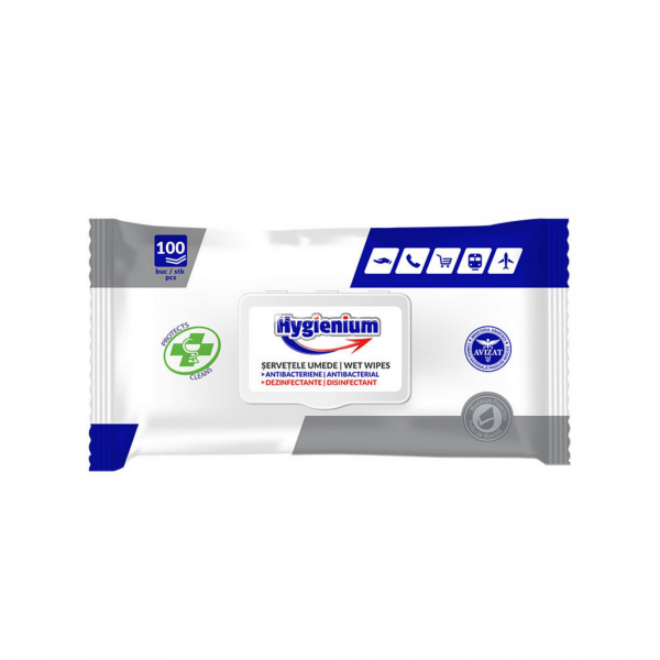 Servetele umede antibacteriene si dezinfectante Hygienium 100 bucati [0]