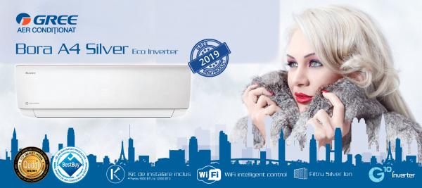 Aer conditionat inverter Gree Bora A4 Silver 12000 BTU, kit instalare inclus, A++, wifi inclus, alb 1