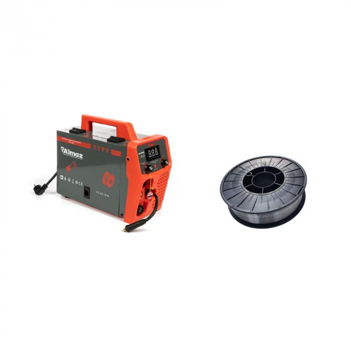 Aparat de sudura Almaz MIG 285, diametru electrod 1.6 - 3.2 mm cu sarma flux 0.8 mm, rola 5 kg 0