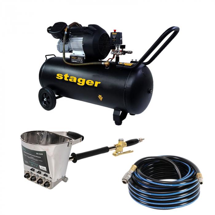 Pachet compresor Stager HM3100V 3CP, 100L,10 bar cu masina de tencuit pereti Detoolz si furtun 20 m [0]