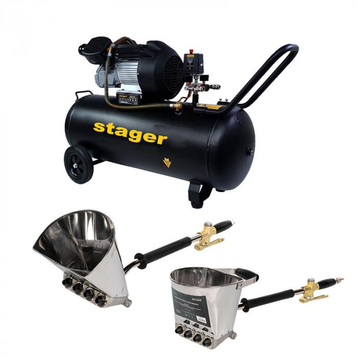 Pachet Compresor Stager HM3100V, 100L, 10bar, 356L/min, monofazat cu masina de tencuit pereti si masina de tencuit tavan Detoolz cu duze si cuple rapide [0]