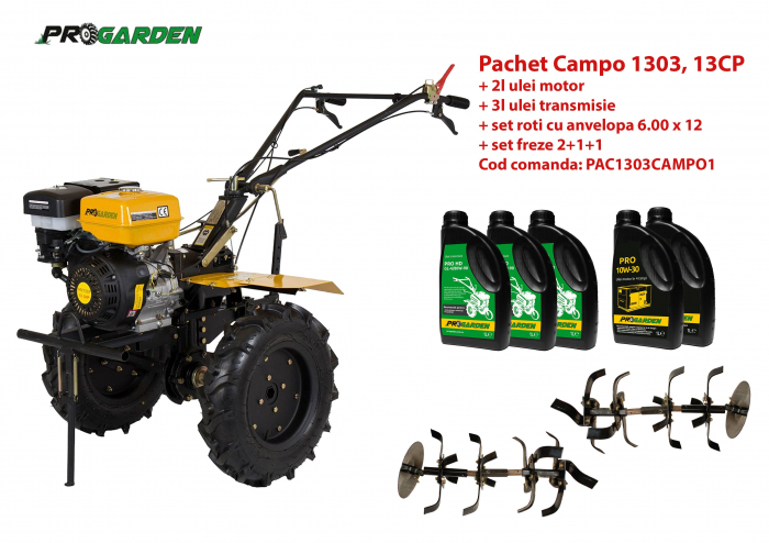 Pachet motocultor Campo 1303, benzina, 13CP, 2+1 trepte, ulei motor si transmisie incluse [0]