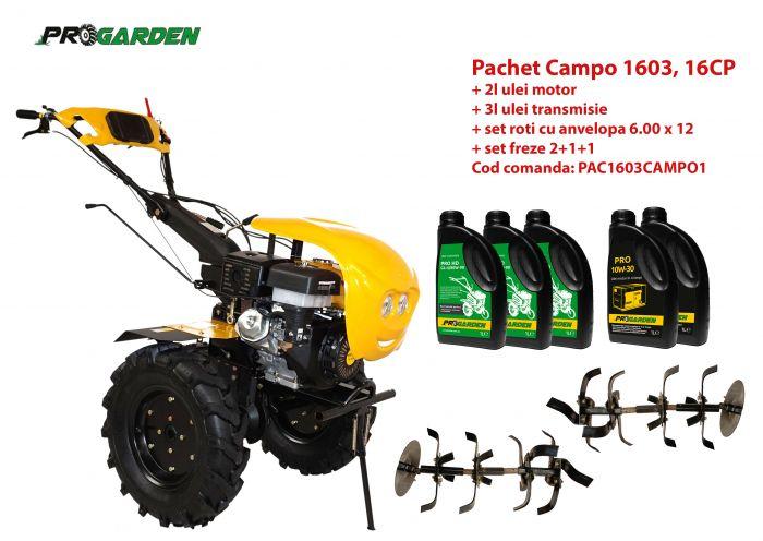 Pachet motocultor Campo 1603, benzina, 16CP, 2+1 trepte, ulei motor si transmisie incluse 0