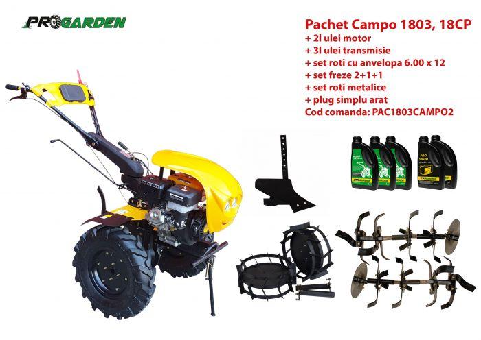 Pachet motocultor Campo 1803, benzina, EURO5, 18CP, 2+1 trepte, accesorii, ulei motor si transmisie incluse 0