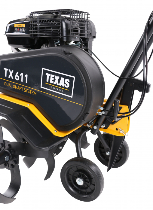 Texas TX611TG, motocultor profesional, transmisie dublu arbore, benzina, 4kW, latime 300-850mm, adancime 330mm, 2 viteze, garantie pe viata cutite 5