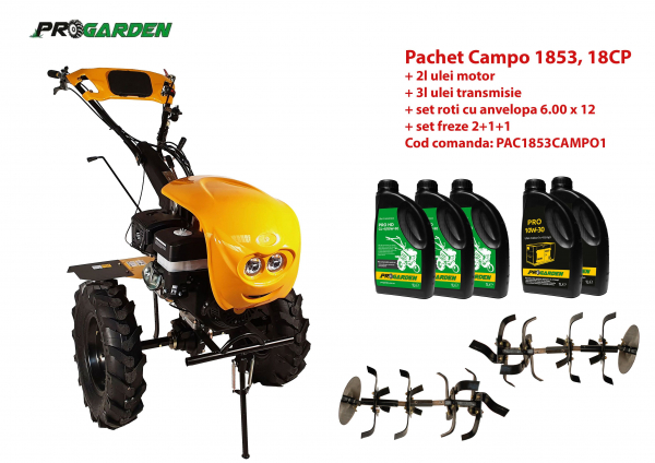 Pachet motocultor Campo 1853, benzina, EURO5, 18CP, 2+1 trepte, ulei motor si transmisie incluse 0