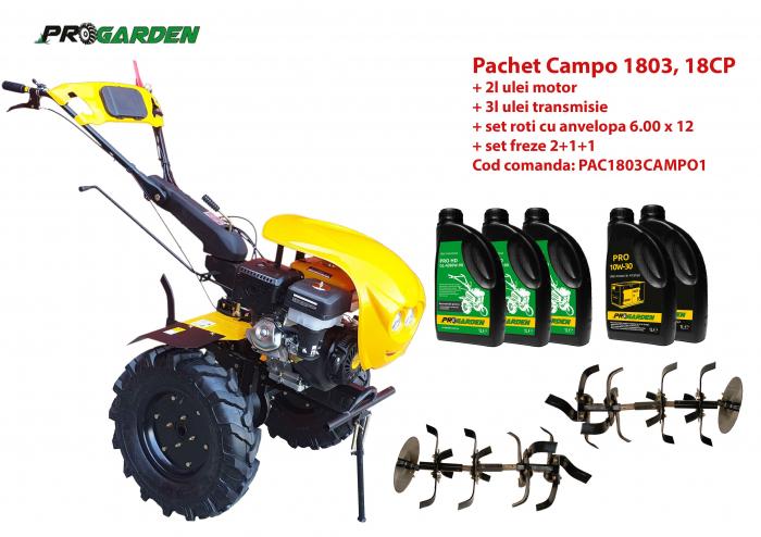 Pachet motocultor Progarden HS1100-18 Campo 1803, benzina, EURO5, 18CP, 2+1 trepte, ulei motor si transmisie incluse 0