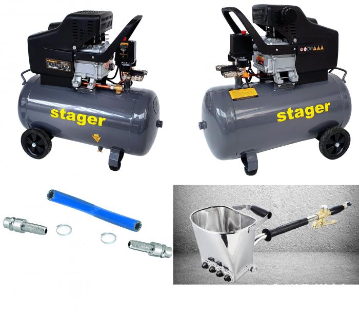 Pachet profesional pentru tencuit include doua Compresoare Stager HM2050B 50L si Masina tencuit pereti Detoolz pneumatica, cupla rapida si duze incluse [0]