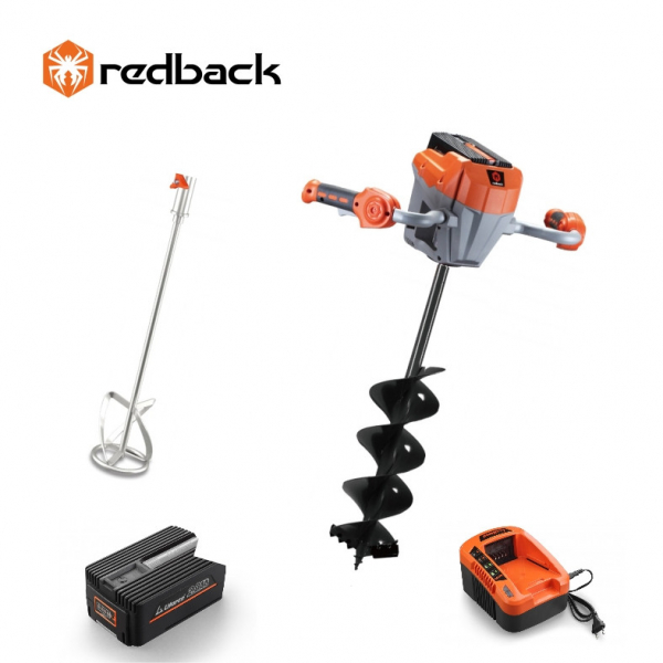 Set Redback motor burghiu E808T + paleta E805C 120mm + burghiu E806C 150x800mm + acumulator Li-Ion EP20 2Ah + incarcator EC20 2A [0]