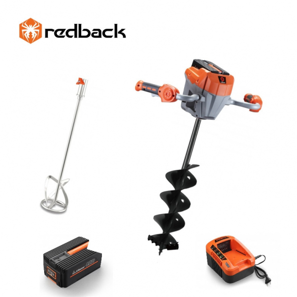 Set Redback motor burghiu E808T + paleta E805C 120mm + burghiu E806C 150x800mm + acumulator Li-Ion EP40 4Ah + incarcator EC20 2A 0