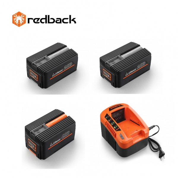 Set Redback powerpack plus 2 acumulatori Li-Ion 1xEP20 40V/2Ah + 1xEP40 40V/4Ah + incarcator rapid EC50 40V/5A 0