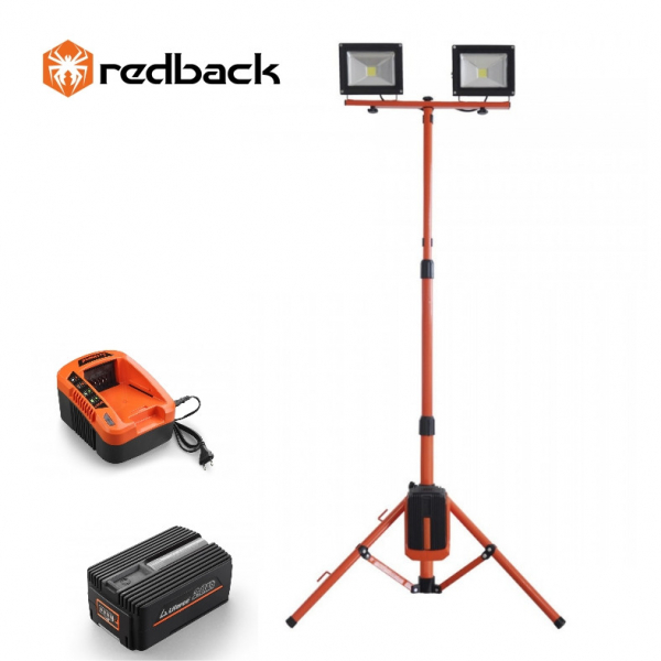 Set Redback stand cu 2 proiectoare LED ED40 2x20W 40V + acumulator Li-Ion EP20 40V/2Ah + incarcator EC20 40V/2A 0
