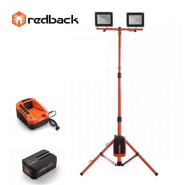 Set Redback stand cu 2 proiectoare LED ED40 40V 2x20W + acumulator Li-Ion EP60 40V/6Ah + incarcator rapid EC50 40V/5A [0]