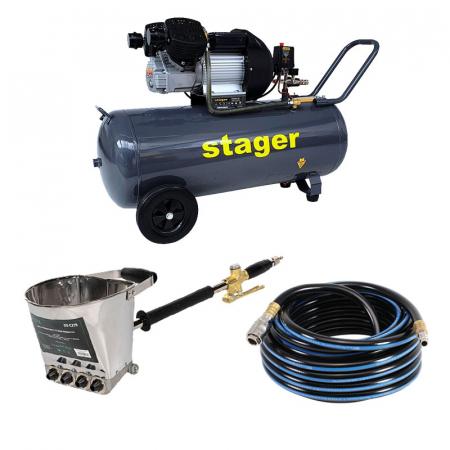 Pachet compresor Stager HM3100V 3CP, 100L,8 bar cu masina de tencuit pereti Detoolz si furtun 10 m [0]