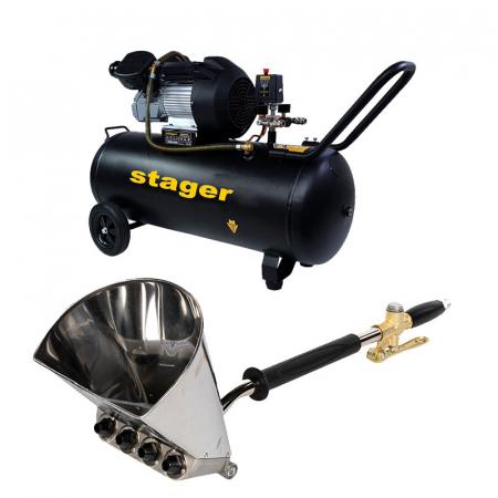 Pachet compresor Stager HM3100V 3CP, 100L, 10bar cu masina tencuit tavan Detoolz, cupla rapida si duze incluse, ideal pentru costructii [0]