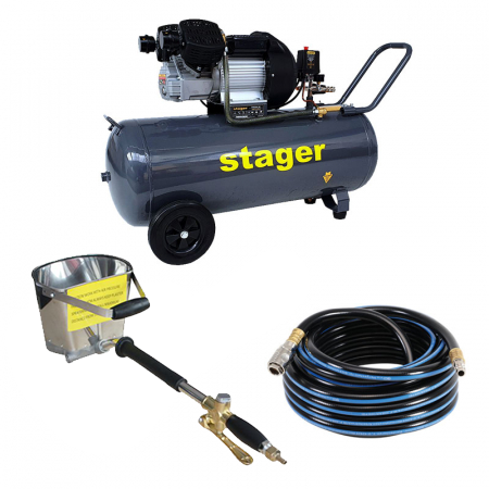 Pachet compresor Stager HM3100V 3CP, 100L,8 bar cu masina de tencuit pereti Detoolz si furtun 10 m inclus [0]
