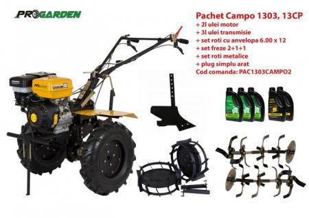 Pachet motocultor Campo 1303, benzina, 13CP, 2+1 trepte, accesorii, ulei motor si transmisie incluse [0]