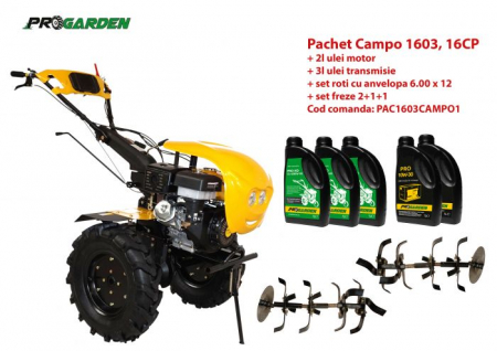 Pachet motocultor Campo 1603, benzina, 16CP, 2+1 trepte, ulei motor si transmisie incluse [0]